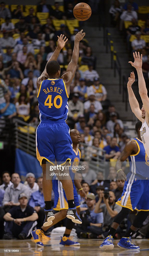 Golden State Warriors small forward Harrison Barnes (40) puts up a shot in the first quarter. The Denver Nuggets took on the Golden State Warriors in Game 5 of the Western Conference First Round Series at the Pepsi Center in Denver, Colo. on April 30, 2013.