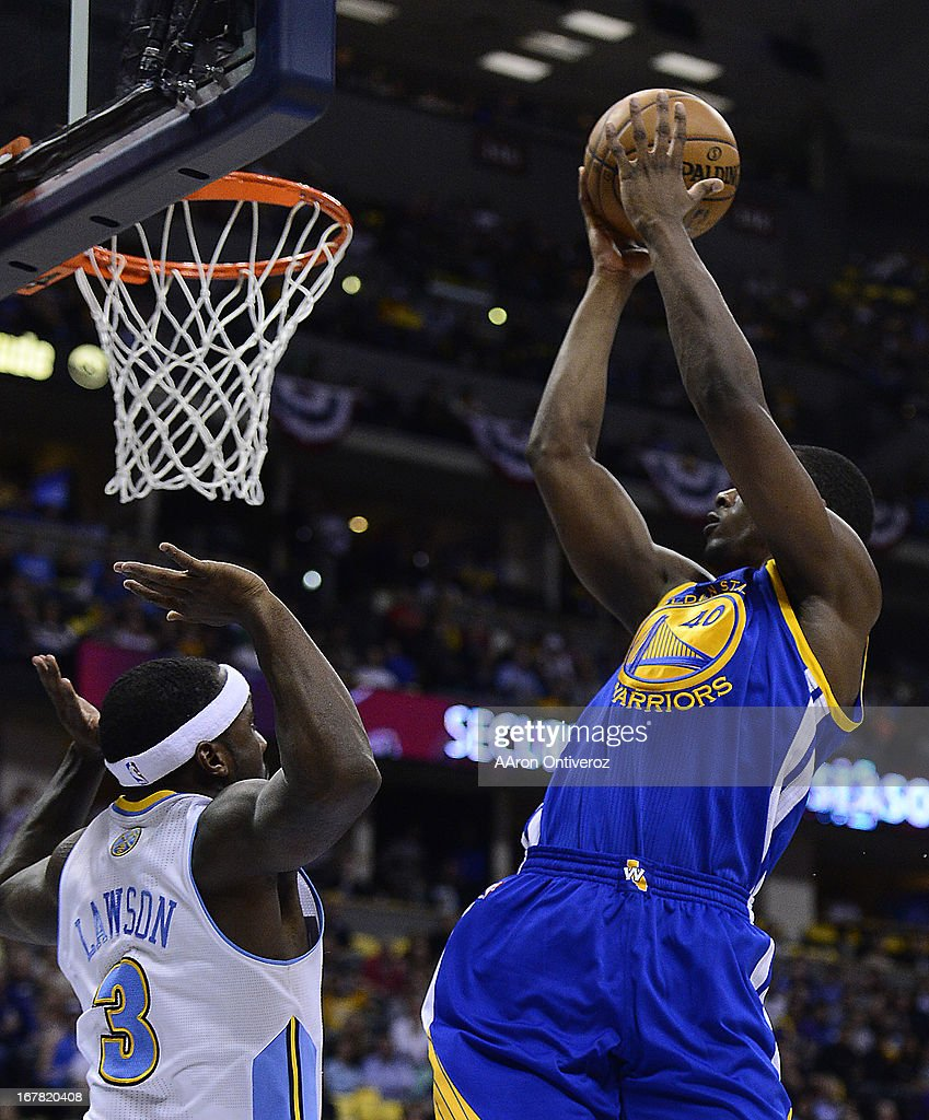 Golden State Warriors small forward Harrison Barnes (40) puts up a shot in the second quarter. The Denver Nuggets took on the Golden State Warriors in Game 5 of the Western Conference First Round Series at the Pepsi Center in Denver, Colo. on April 30, 2013.