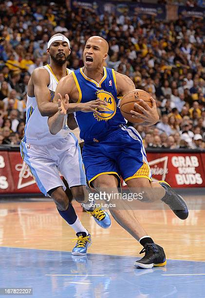 Golden State Warriors small forward Richard Jefferson drives to the basket around Denver Nuggets small forward Corey Brewer The Denver Nuggets took...