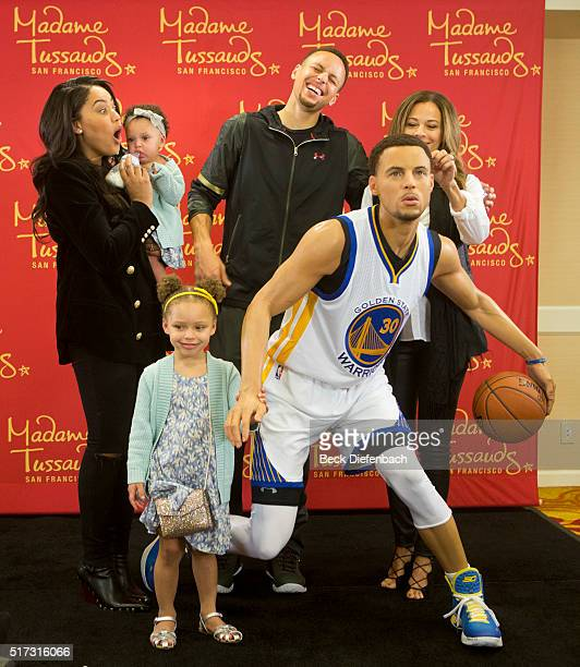 Golden State Warriors' Stephen Curry and family unveil his wax figure made by Madame Tussauds San Francisco located on Fisherman's Warf on March 24...