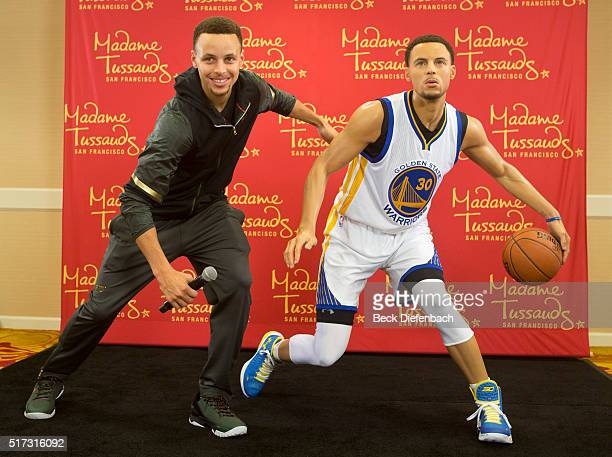 Golden State Warriors' Stephen Curry poses with his wax figure made by Madame Tussauds San Francisco located on Fisherman's Warf on March 24 2016 in...