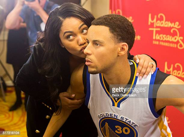 Golden State Warriors' Stephen Curry's wife Ayesha poses with her husband's wax figure made by Madame Tussauds San Francisco located on Fisherman's...