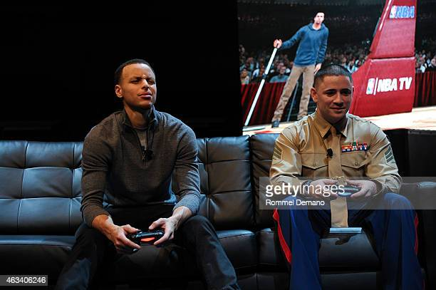 Golden State Warriors superstar Steph Curry attends the Playstation Special Announcement Event at Gotham Hall on February 13 2015 in New York City