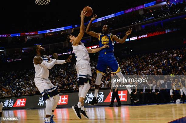 Golden State Warriors's NBA player Kevin Durant vies during the NBA Basketball Game between Golden State Warriors and Minnesota Timberwolves in...