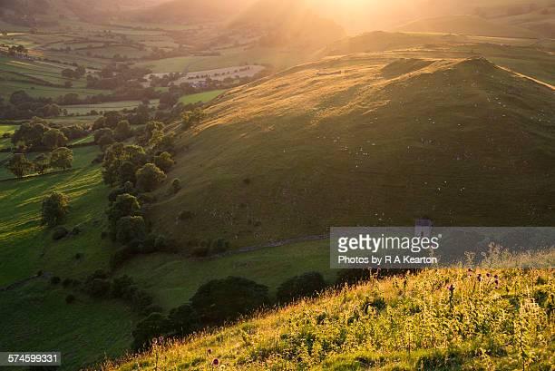 Golden sunlight in the Peak District hills