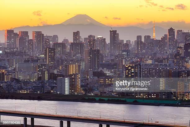 Golden Sunset Mt Fuji