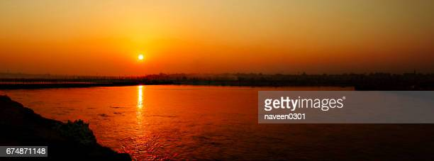 Golden Sunset on Ghats over river Ganga, Varanasi, India
