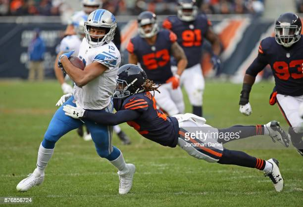 Golden Tate of the Detroit Lions is tackeld by Cre'von LeBlanc of the Chicago Bears at Soldier Field on November 19 2017 in Chicago Illinois The...