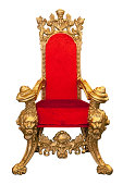 Royal Throne With Gold Carvings And Red Velvet On White