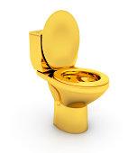 Golden Toilet bowl