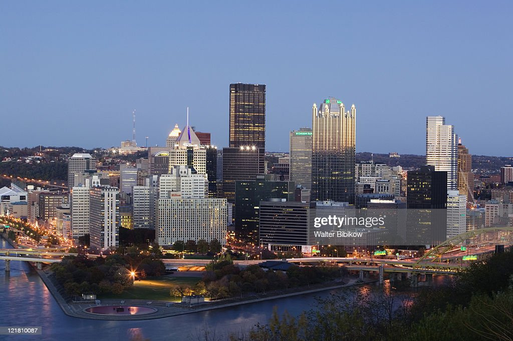Golden Triangle downtown area from Mt. Washington : Stock Photo