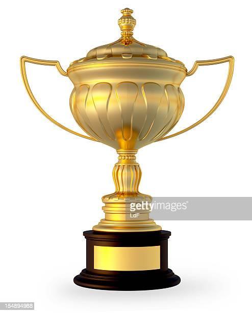 Trophée d'or isolé sur blanc avec un Tracé de détourage