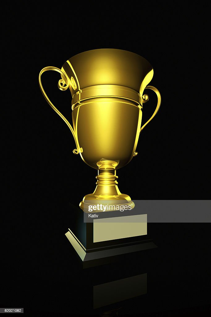 golden trophy on black background stock photo getty images