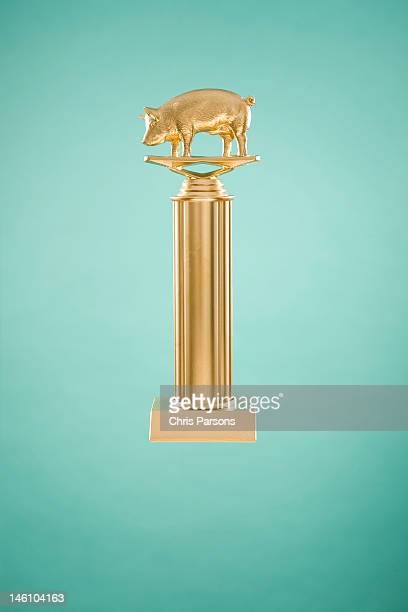 Golden trophy with pig on top