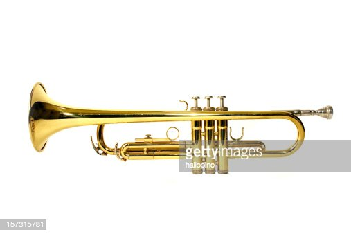 Golden trumpet from a side view