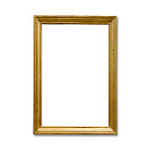 Golden vintage frame isolated on white background. All clipping paths included- frame, in,out...