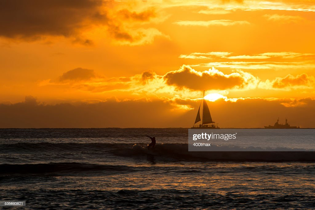 Golden Waikiki : Stockfoto