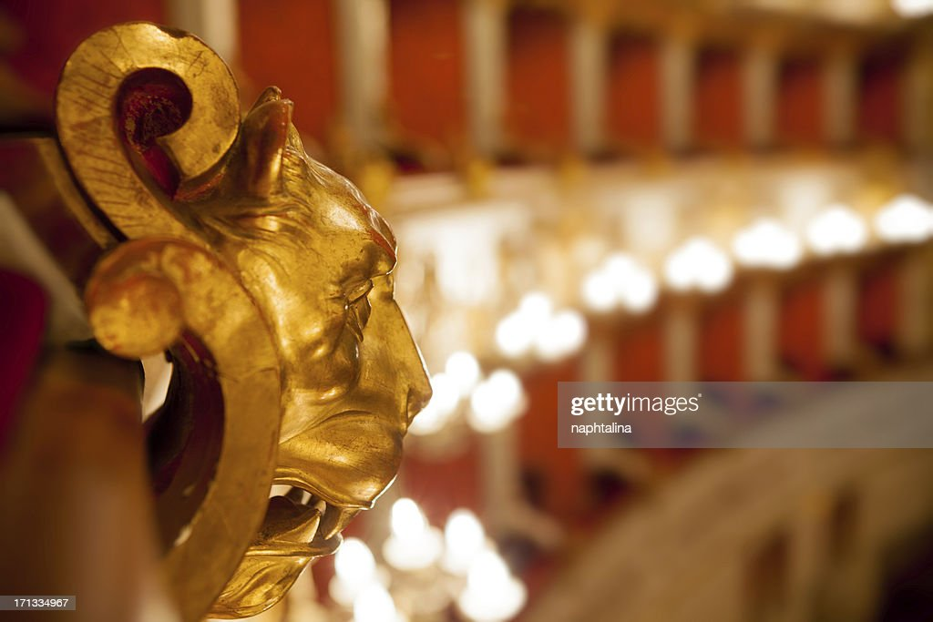 Golden wood lion in theater