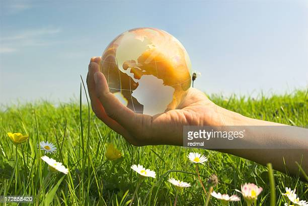 A golden world globe held by a hand in a field of grass