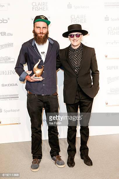 Goldene Henne award winner Tobias Burdukat and german musician and actor Marius MuellerWesternhagen attend the Goldene Henne on October 28 2016 in...