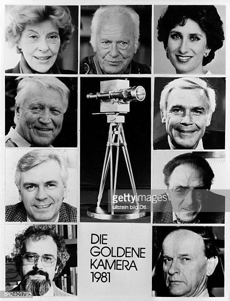 Goldene Kamera der Programmzeitschrift 'Hör zu' Tableau der Preisträger Robert Stromberger Dieter Kürten Hans Christian Blech Marianne Hoppe Curd...