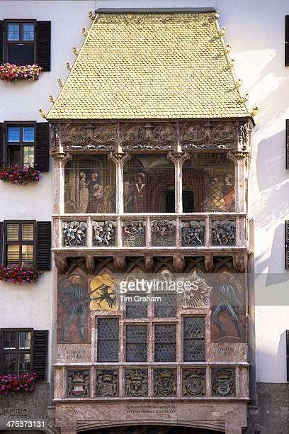 Goldenes Dachl Golden Roof built 1500 with firegilded copper tiles in Herzog Friedrich Strasse in Innsbruck the Tyrol Austria