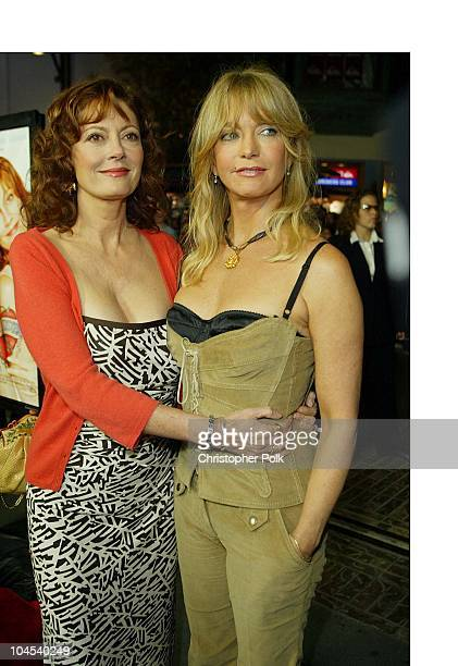 Goldie Hawn and Susan Sarandon during The Banger Sisters Premiere Arrivals at The Grove Stadium 14 Theatres in Los Angeles California United States