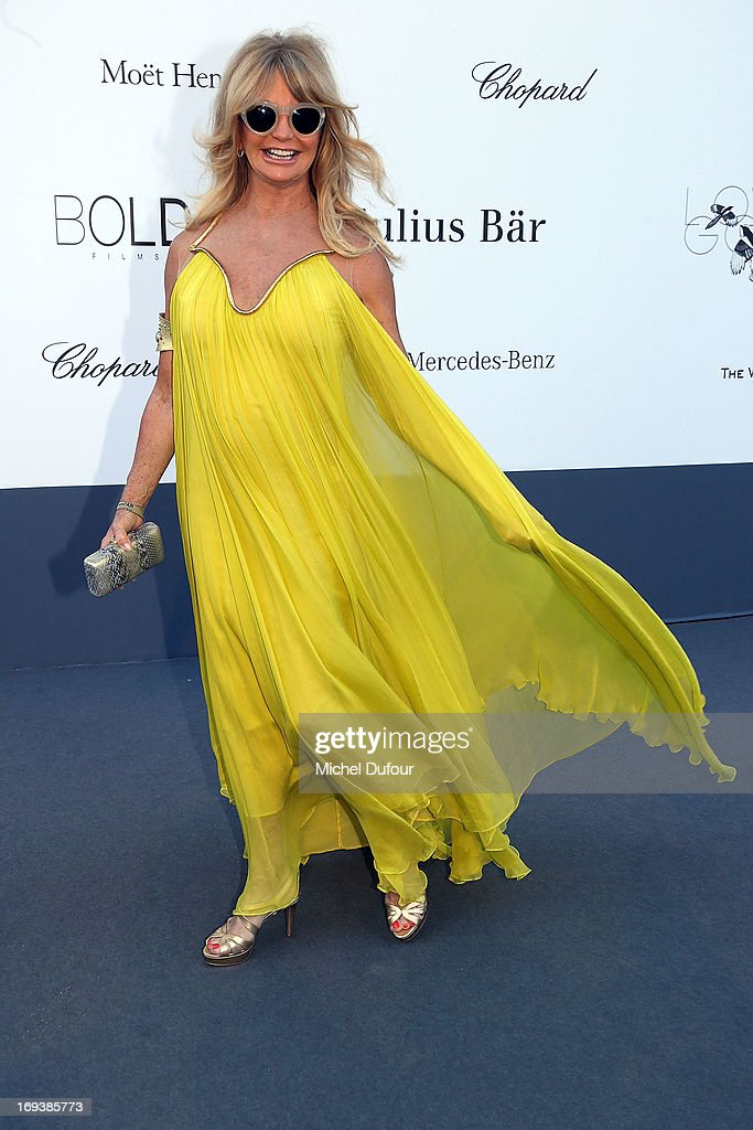 Goldie Hawn arrives at amfAR's 20th Annual Cinema Against AIDS at Hotel du Cap-Eden-Roc on May 23, 2013 in Cap d'Antibes, France.
