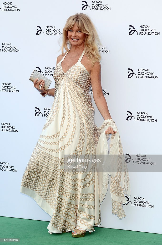 <a gi-track='captionPersonalityLinkClicked' href=/galleries/search?phrase=Goldie+Hawn&family=editorial&specificpeople=171422 ng-click='$event.stopPropagation()'>Goldie Hawn</a> attends the Novak Djokovic Foundation London gala dinner at The Roundhouse on July 8, 2013 in London, England.