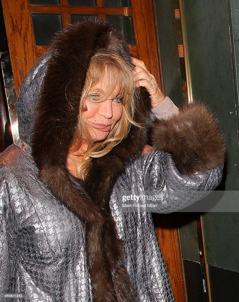 Goldie Hawn leaving the Ivy restaurant on January 29, 2014 in London, England.