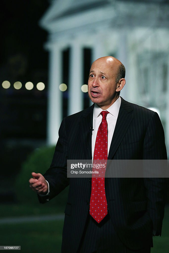 Goldman Sachs Group Chairman and CEO <a gi-track='captionPersonalityLinkClicked' href=/galleries/search?phrase=Lloyd+Blankfein&family=editorial&specificpeople=4085054 ng-click='$event.stopPropagation()'>Lloyd Blankfein</a> is interviewed by television reporters after a meeting at the White House with President Barack Obama and other business leaders November 28, 2012 in Washington, DC. According to the White House, the American business executives met with Obama to discuss economic growth and deficit reduction.