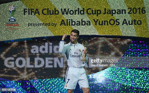 Goldon boot winner Cristiano Ronaldo of Real Madrid after the FIFA Club World Cup final match between Real Madrid and Kashima Antlers at...