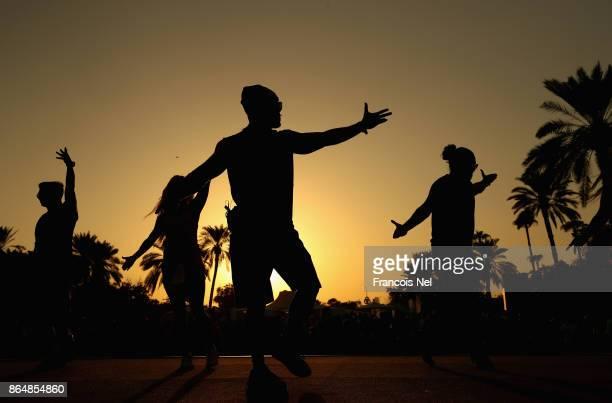 Gold's Gym dancers perform during the Dubai Fitness Challenge Opening Carnivalat Safa Park on October 21 2017 in Dubai United Arab EmiratesThe...