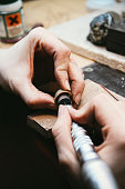 Goldsmith working on wedding rings