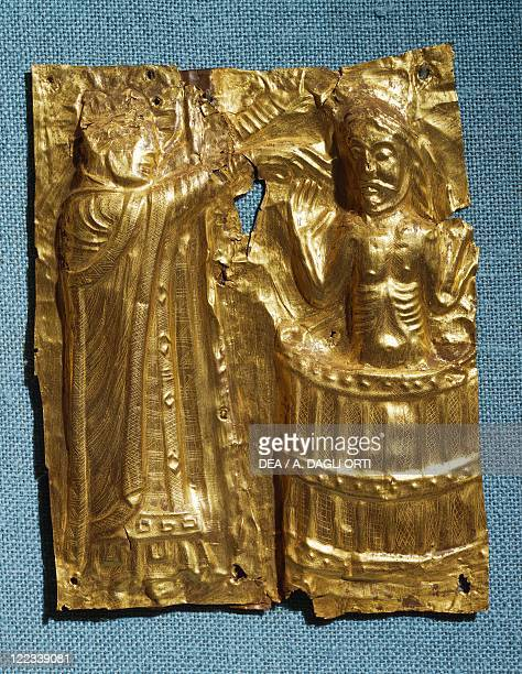 Goldsmith's art Denmark 11th century Tamdrup plates embossed gold foil depicting King Harald being baptized by bishop Poppo