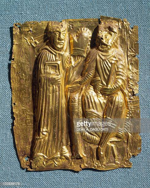 Goldsmith's art Denmark 11th century Tamdrup plates embossed gold foil depicting bishop Poppo who converted King Harald to Christianity