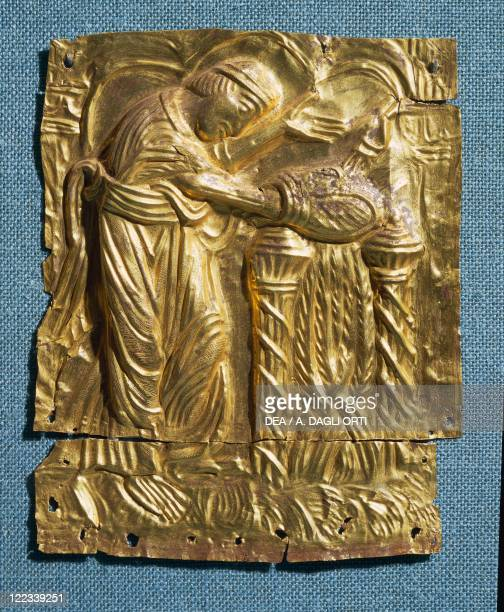 Goldsmith's art Denmark 11th century Tamdrup plates embossed gold foil depicting Absalon bishop of Roskilde and archbishop of Lund