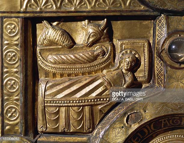 Goldsmith's art Denmark 13th century Wooden altar covered in gold leaf from Olst near Randers 12001225 Detail Nativity
