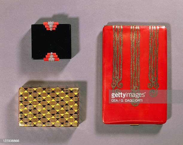 Goldsmith's art France 20th century Black enamel coral and diamond compact by Cartier enamelled gold box by Boucheron lacquered silver gilt cigarette...