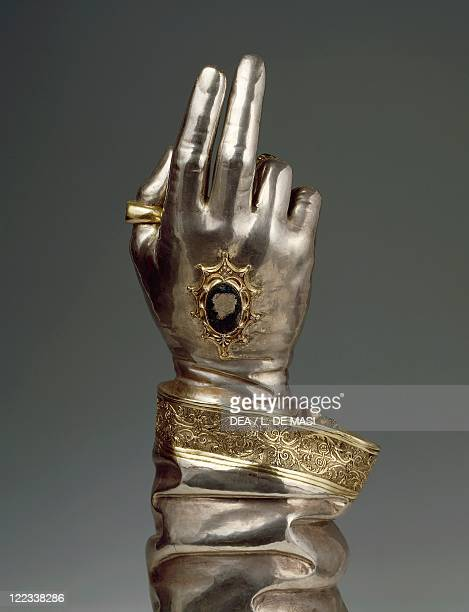 Goldsmith's art Italy 15th century Reliquary of holy arm of Saint Bonaventure gold and silver 1491 Detail