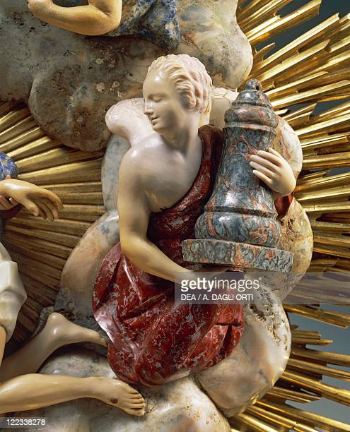 Goldsmith's art Italy 18th century Giuseppe Antonio Torricelli Reliquary of Saint Emeric in gilded bronze ebony pietre dure and precious stones 1717...