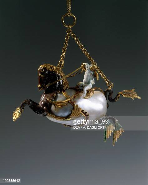 Goldsmith's art Netherlands 17th century Enamelled gold and pearls pendant depicting Cupid riding a marine horse mm 55x65
