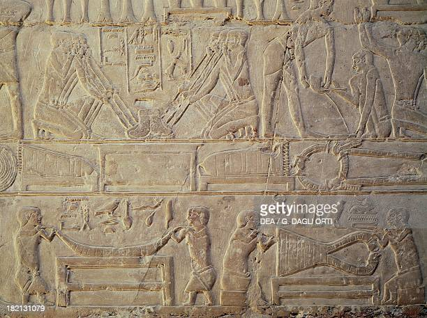 Goldsmiths busy smelting metal painted relief Mastaba of Mereruka Saqqara Egyptian Civilisation Old Kingdom Dynasty VI
