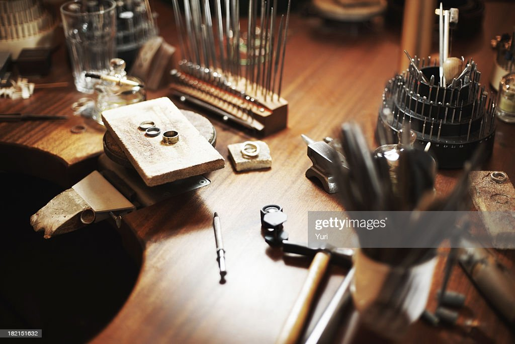 Goldsmith's workbench : Stock Photo