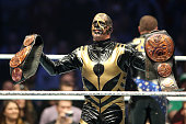 Goldust reacts during WWE Live 2014 at Festhalle on November 15 2014 in Frankfurt am Main Germany