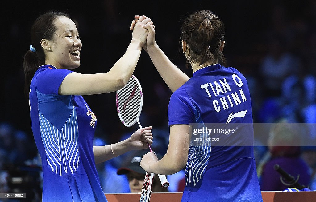 Goldwinners and world champions in womens double Qing Tian and Yunlei Zhao of China in action in the finals during the Li-Ning BWF World Badminton Championships at Ballerup Super Arena on August 31, 2014 in Copenhagen, Denmark.