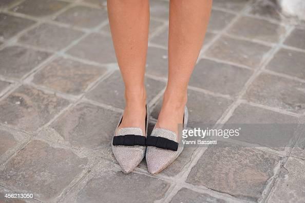 Golesthameh MayerUellner poses wearing Jimmy Choo shoes on September 27 2014 in Paris France