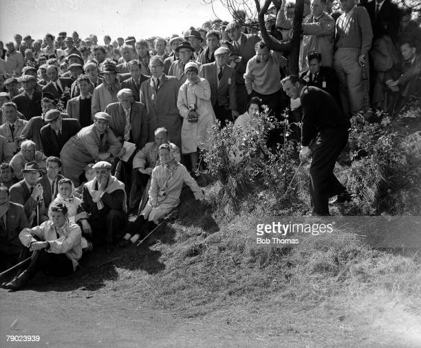 Golf 1961 British Open Golf Championship Royal Birkdale The eventual winner USAs Arnold Palmer plays a shot from the rough watched by Arnies Army...