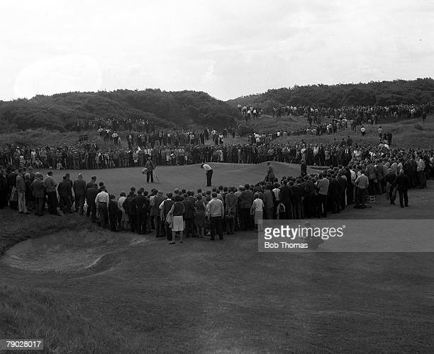 Golf 1965 British Open Golf Championship Royal Birkdale General view shows the huge crowd gathered around a hole