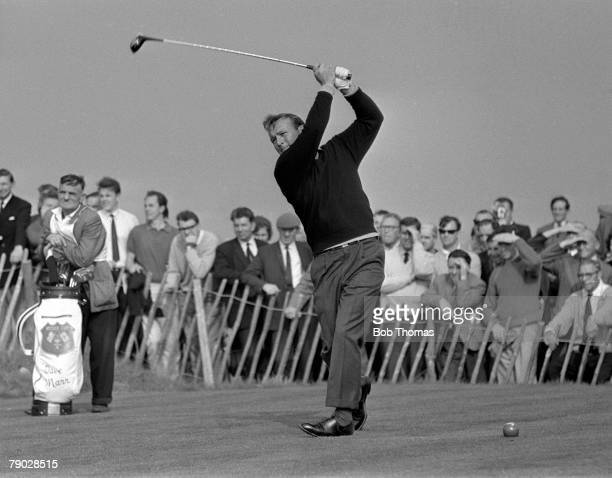 Golf 1965 Ryder Cup Birkdale Lancashire America 19 1/2 v Great Britain and Ireland 12 1/2 USA's Arnold Palmer drives off from the tee watched by a...